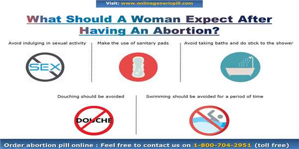 What should a woman expect after having an abortion