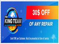 $30 off on any repair - The King Team Air Conditioning and Heating - South Carolina