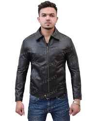 Mens-Turn-Down-Collar-Slimfit-Black-Jacket