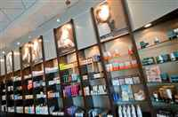Cosmetic and skin care products display at Mitchell's Salon & Day Spa